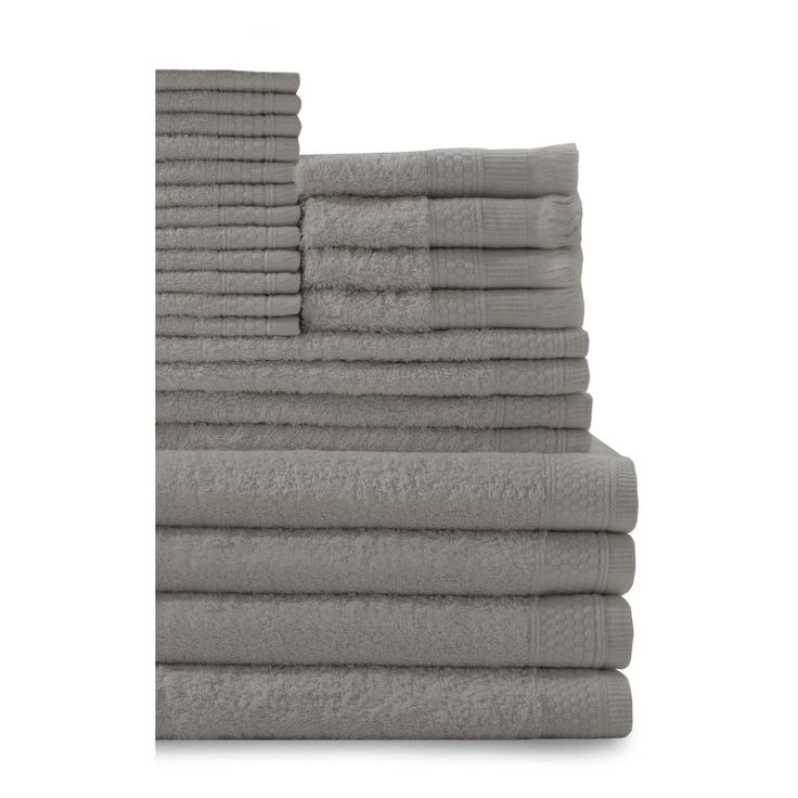 Baltic Linen Company 24 Piece Multi Count Complete Cotton Towel Set Graphite Gray - 353624390