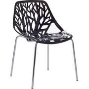 "Modway Stencil 31""H Plastic Dining Side Chair, Black"