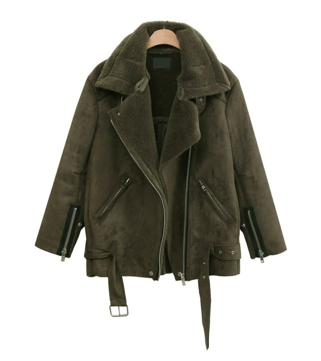 Green Sheepskin Coat aaosag