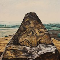 """Steve Gouthro, Symbolic Landscape: """"Stupa"""",excerpt panel painting fromCurrent to future, 1985. 16"""" x 16"""". @wagca Gallery Ball, Oct. 18, 2014."""