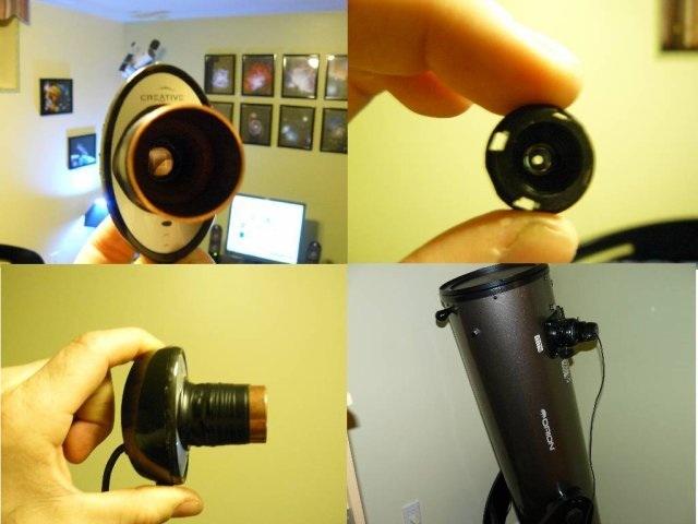 """Webcam modifier  Retirer la lentille puis joindre un tuyau de plomberie copper 1""""1/4"""