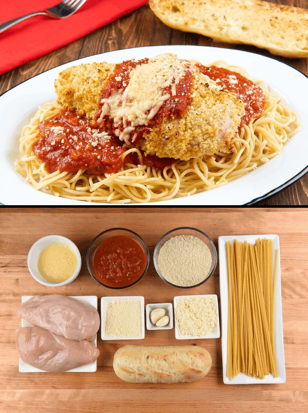 Classic Chicken Parmesan with spaghetti and garlic bread