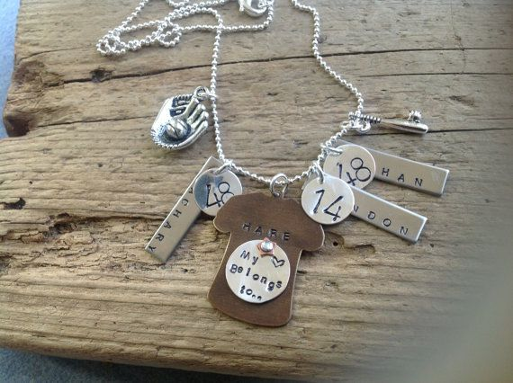 Baseball Mom Girlfriend Necklace Three Players One Jersey Jewelry Sports Mom With Custom Numbers