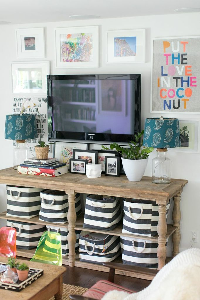 Great tips on how to decorate around a television - or great console table for behind the couch