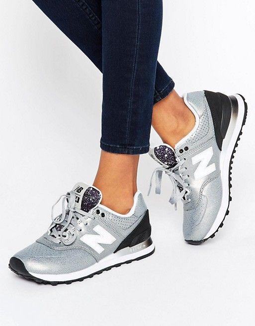New Balance | Серебристые кроссовки с эффектом металлик NewBalance574