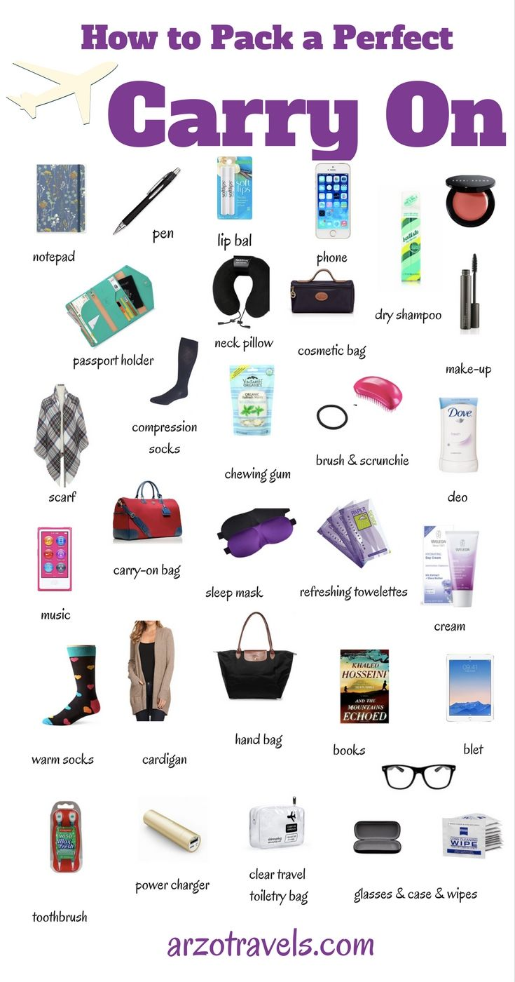Carry-On packing guide for your next long distance flight. Things to pack. Travel