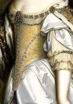 Charles Beaubrun (1604-1692) and Henri Beaubrun (1603-1677):  Portrait of Queen Maria Theresa of France, as patron of the Cathedral of Notre-Dame de Paris, 17th century. (detail)