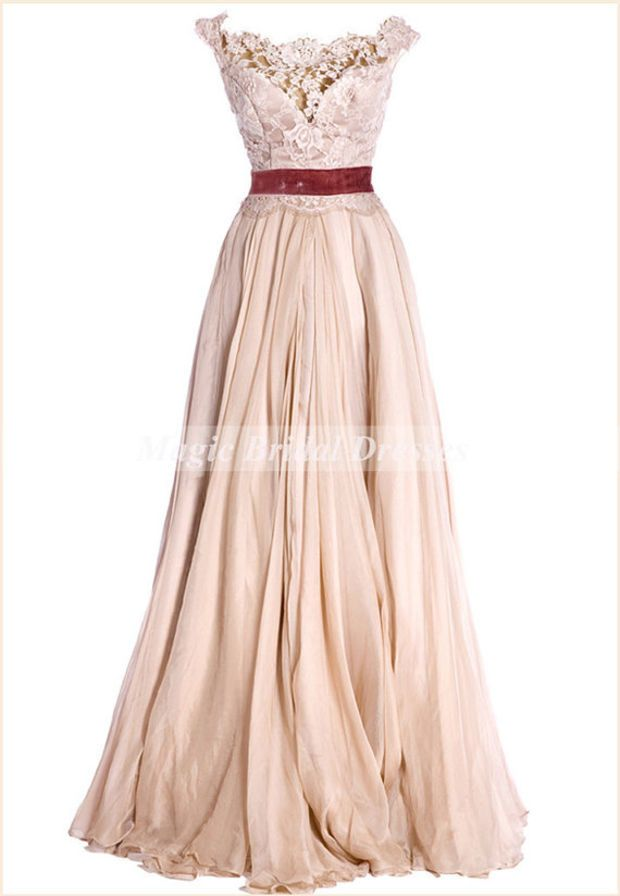 Princess Style Prom Dress Vintage Royal Court Dress Scoop Lace Bodice A-line Floor-length Long Prom Gown Popular Women Party Dresses Chiffon