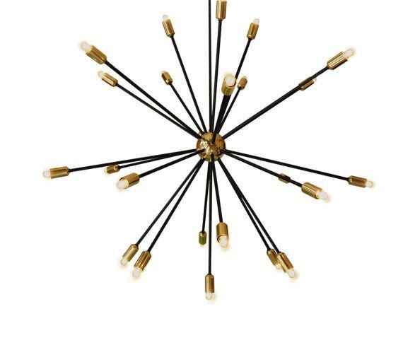 Lámpara de araña de oro moderna con múltiples luces. Lámparas minimalistas.