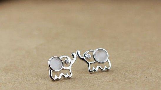 Sterling Silver Cute Elephant Earring Stud