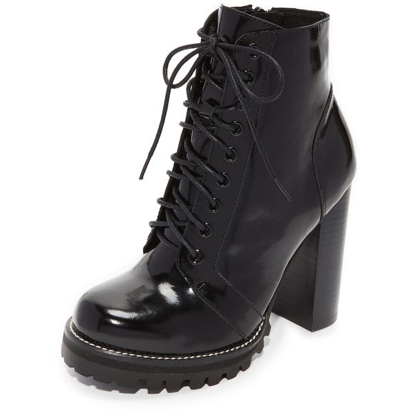 Jeffrey Campbell Legion Lace Up High Heel Booties (209 AUD) ❤ liked on Polyvore featuring shoes, boots, ankle booties, black box, block heel booties, black lace up boots, high heel boots, laced up boots and black booties