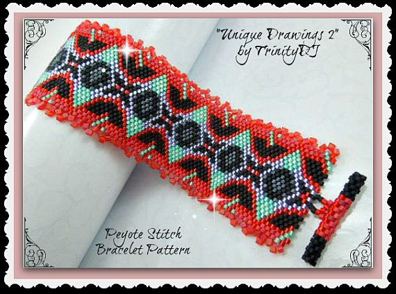 BP-AB-102a - Unique Drawings - Odd Count Peyote Stitch Bracelet Pattern/Tutorial - One of A Kind Design