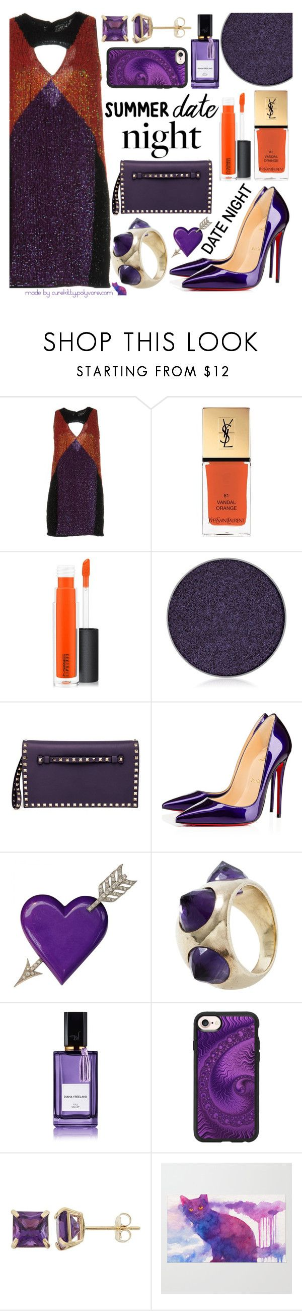 """""""Smokin' Hot: Summer Date Night!"""" by curekitty ❤ liked on Polyvore featuring Pinko, Yves Saint Laurent, MAC Cosmetics, Anastasia Beverly Hills, Valentino, Christian Louboutin, Jade Jagger, Diana Vreeland and Casetify"""