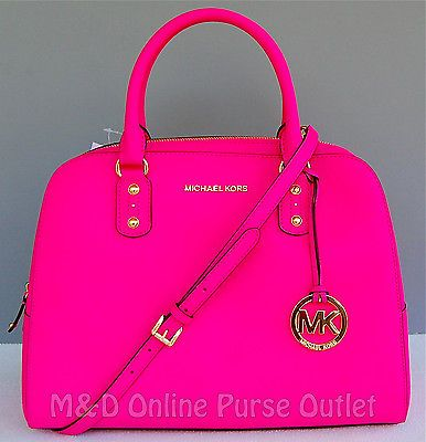 NWT NEW Auth Michael Kors Saffiano Leather Large Satchel Purse Bag ~ Neon Pink