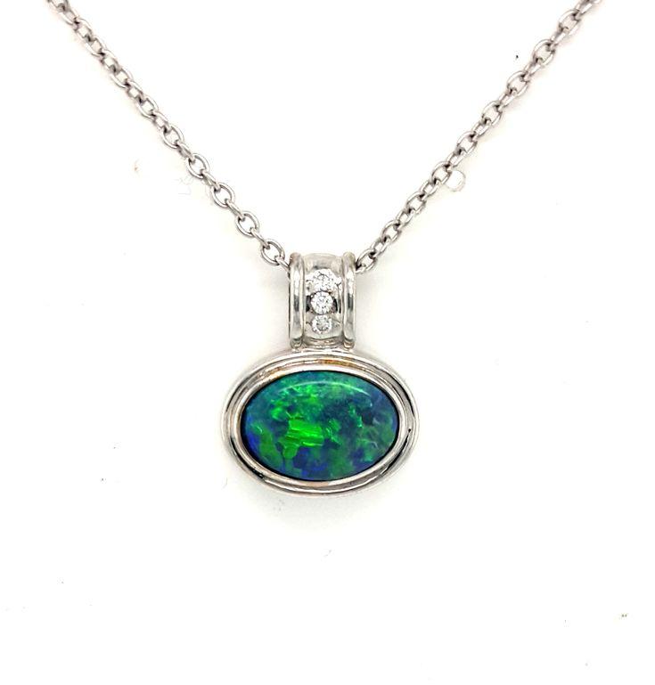 18ct White Gold Solid Australian Opal and Diamond Pendant - $4.,600- #opal #diamond #pendant #necklace #lghumphries #humphries #sydney #australia #antique #vintage #bespoke