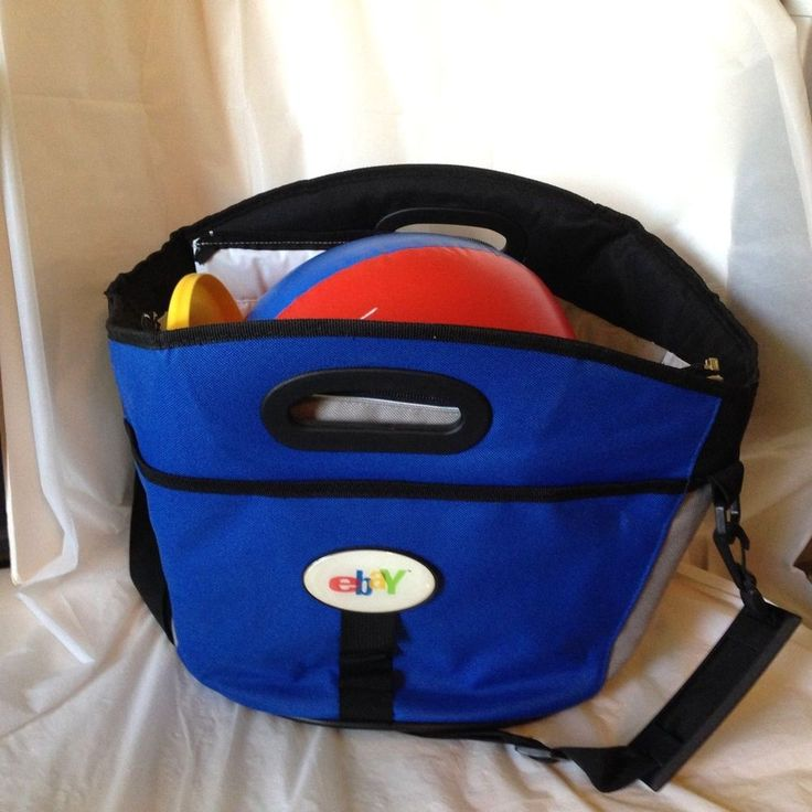 Lg Blue Insulated Beach Tote w/ EBAY Logo Picnic Cooler + Ball & Frisbee…
