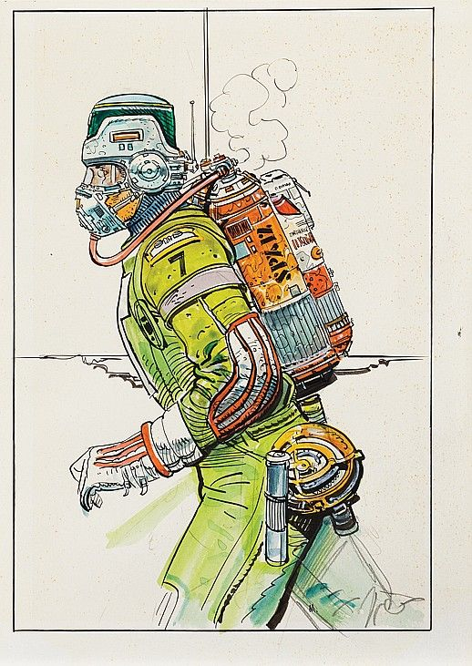 (2) Vintage original spacesuit sketches by Moebius for Alien.