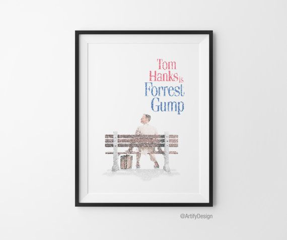 Forrest Gump Movie Script Typo Art Poster Tom by ArtifyDesign