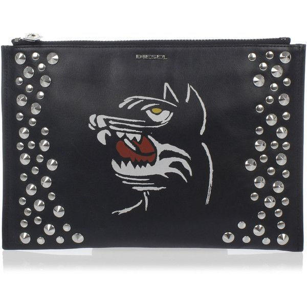Diesel Studded Leather Clutch ($125) ❤ liked on Polyvore featuring bags, handbags, clutches, black, hand bags, man messenger bag, man bag, zip purse and zipper purse