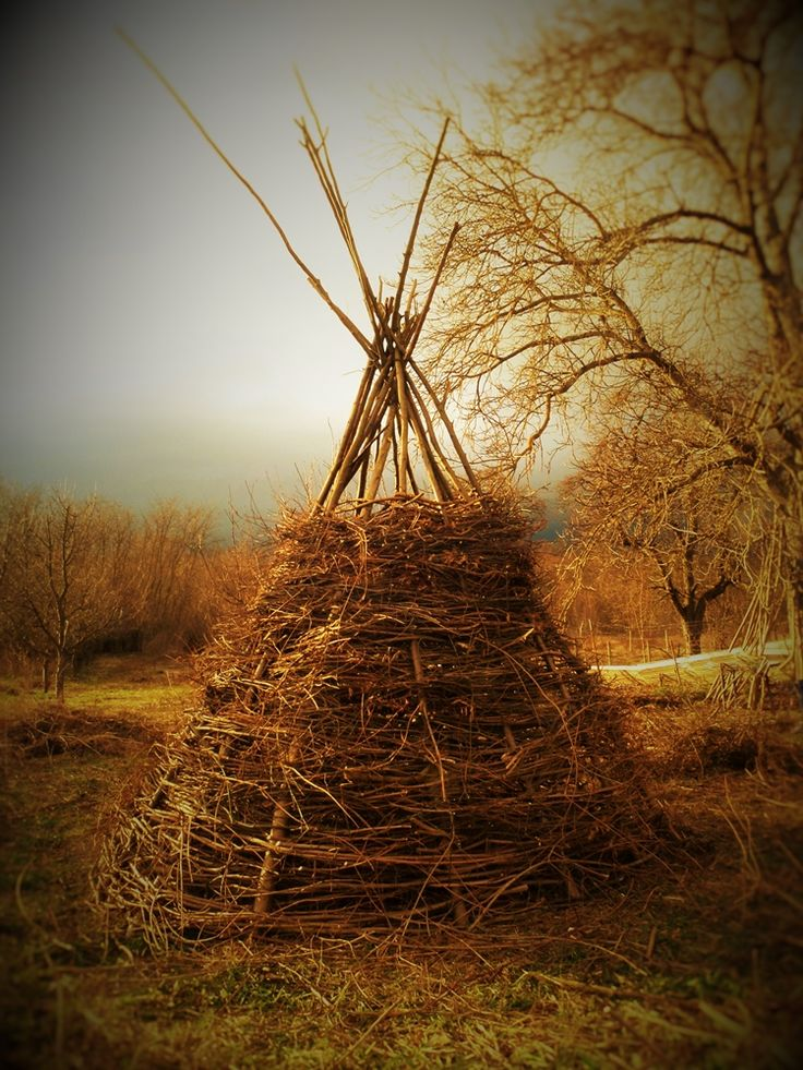 Twig tepee, made by me, for our children.