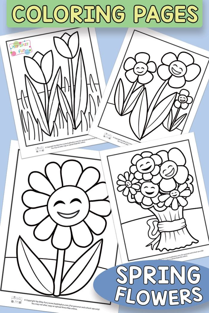 Flower Coloring Pages For Kids Itsybitsyfun Com Flower Coloring Pages Spring Coloring Pages Coloring Pages For Kids