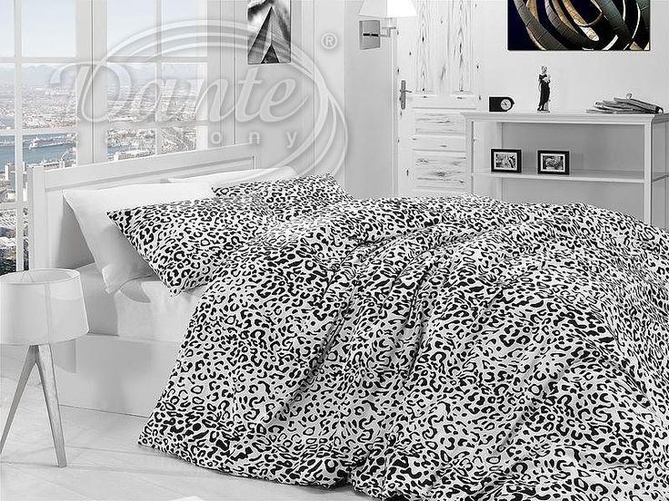 Potrpíte si na zvířecí vzory? Máme pro vás krásné povlečení z kvalitní bavlny s motivem leopardí kůže v černobílé kombinaci.     Z obou stran má povlečení stejný potisk.     Zapínání je na zip.     Ložní souprava je vyrobena ze 100% hladké bavlny.