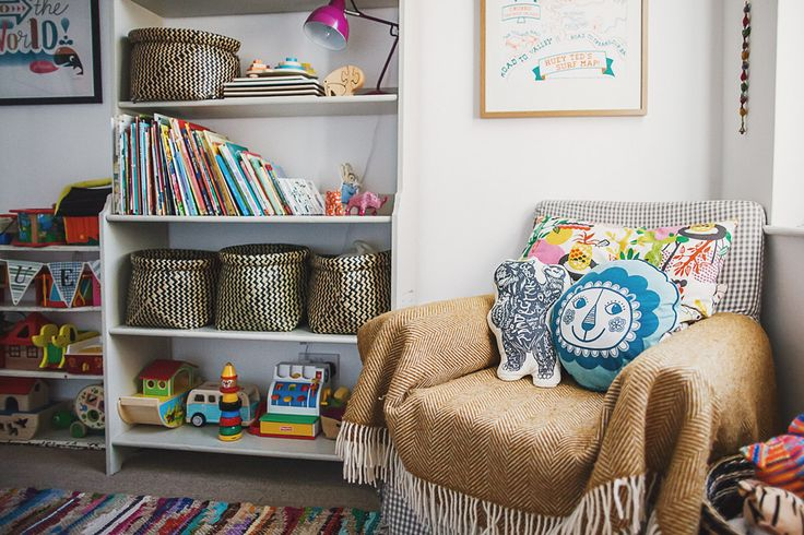 A fun and colourful nursery filled with eclectic finds and personal touches. With simple decor and bright wall decorations to create a gorgeous room.
