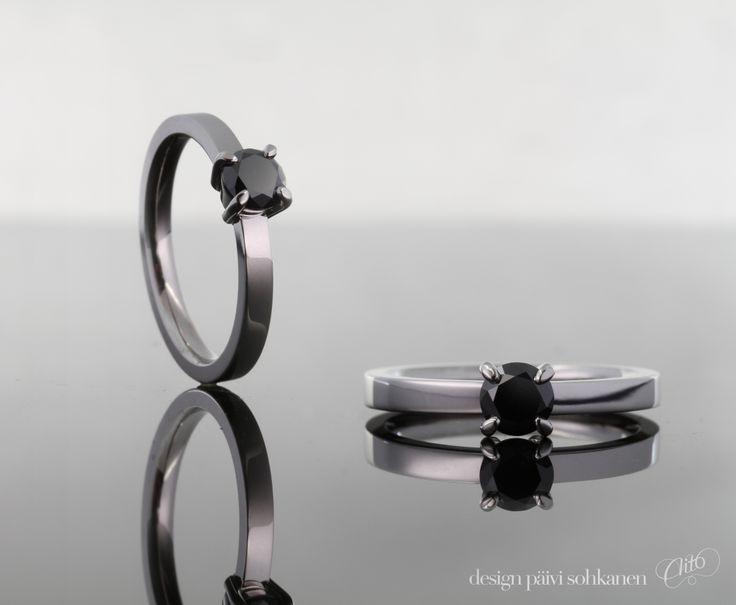 Design Päivi Sohkanen, Ring,white gold 750 and black diamond    wwww.paivisohkanen.fi