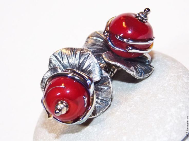 """Купить """"Красный шелк"""" - бордовый, бордовые серьги, серьги лэмпворк, подарок девушке, подарок женщине"""