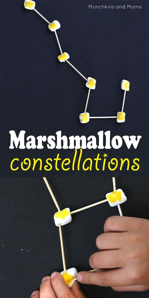 Make Marshmallow Constellations  with kids! This beginning astronomy lesson would work for kids in preschool through middle school!