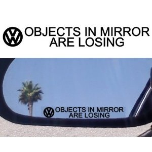 (2) Mirror Decals for VW PHAETON JETTA TDI ROUTAN KARMANN GHIA TOUAREG PASSAT GTI TURBO VR6 GOLF TEIN BEETLE GLS Volkswagen Rabbit Eurovan Cabrio BUS VANAGON EOS THING TIGUAN EUROVAN BAJA BUG