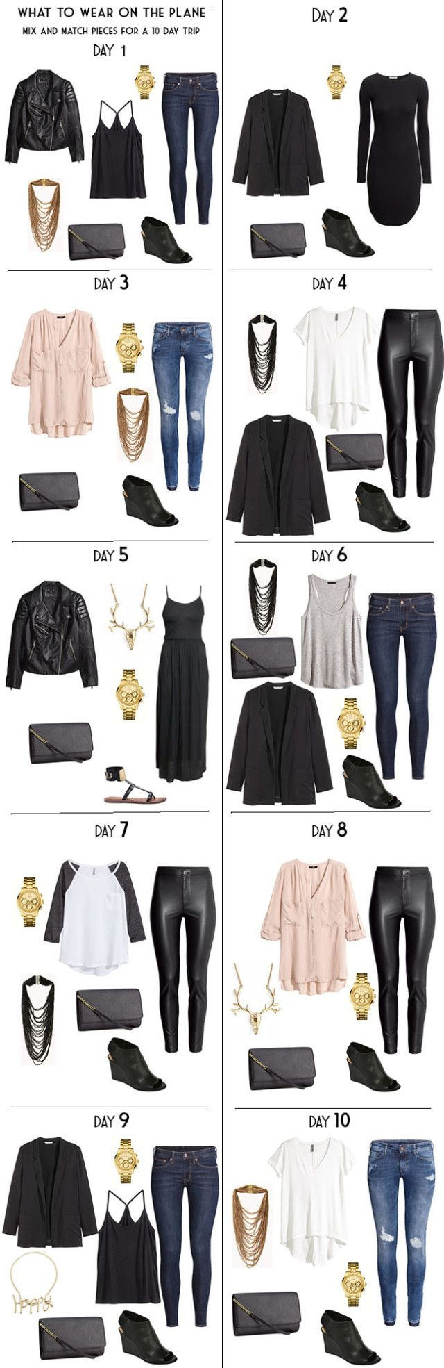 10 Day Packing List 20 pieces in a carry-on for Night wear built from my Capsule wardrobe. #packinglist #travellight #capsule