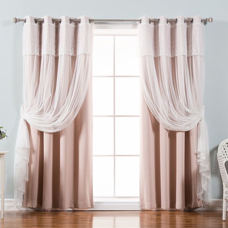 Charming Best Home Fashion Mix U0026 Match Tulle Sheer With Attached Valance U0026 Solid  Blackout Curtain Set