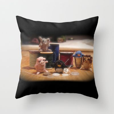 Critter Sewing Time Again Throw Pillow by Alexandria Gold - $20.00