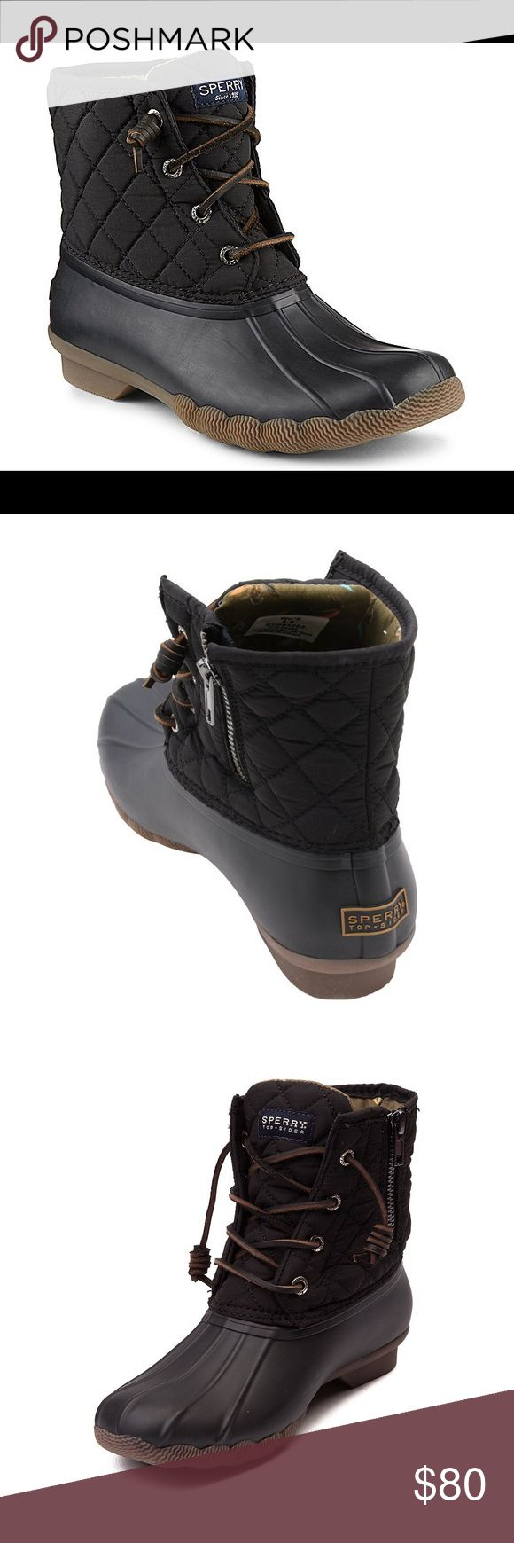 Sperry Saltwater Duck Boot Black 8.5 Make that outfit on Pinterest your reality with this duck boot! Classic duck boot with quilted upper. Inside is lined with a fly fishing inspired fabric. Rubber bottom, rounded toe, rust proof eyelets. Zip up side for easy on and off. Fun leather laces with spiral ends for fun sleek look, no bunchy laces. Perfect for all seasons, especially for rain! Boots have only been worn once. Please feel free to make offers! Sperry Top-Sider Shoes Lace Up Boots