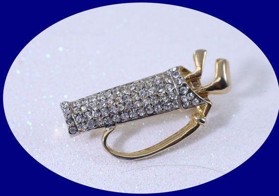 Vintage Pin Rhinestone Pin Brooch Crystal Brooch Rhinestones Brooch Gold Tone Rhinestone Brooch Golf Club Rhinestone Brooch Vintage Jewelry