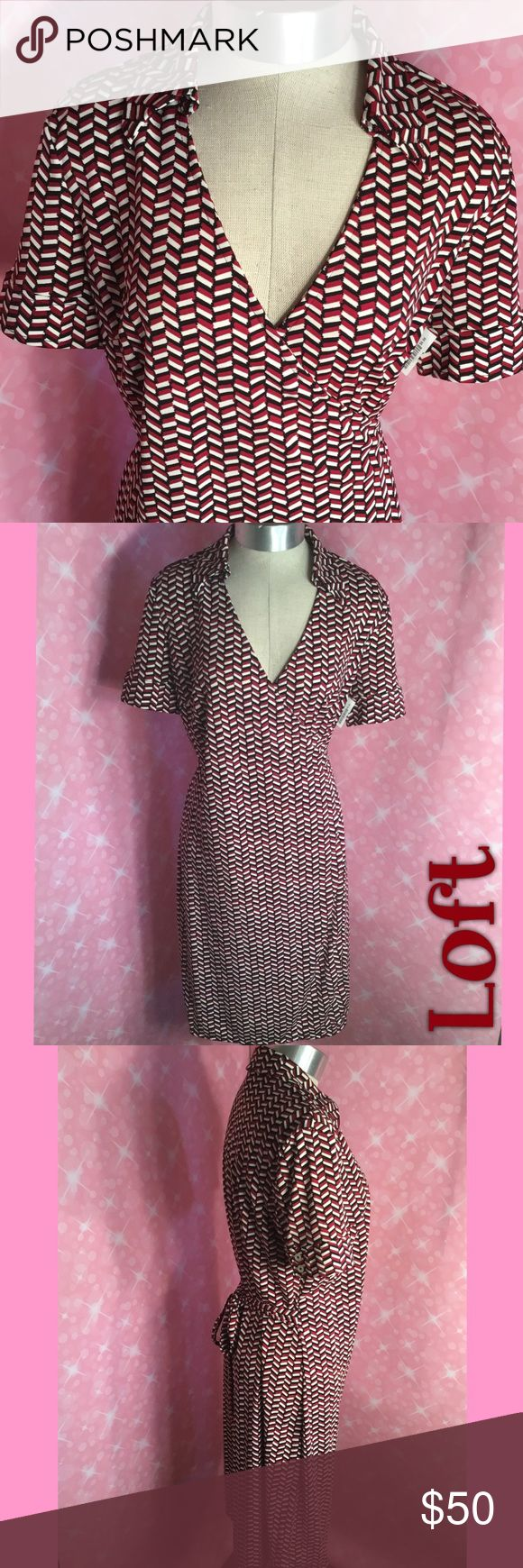 Wrap Dress Wrap dress in in brick red, black ,an white, short sleeve with buttons, v-neck with collar, that ties in the back...excellent condition... LOFT Dresses