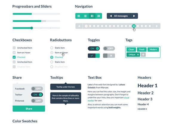 Free PSD & HTML Flat UI kit