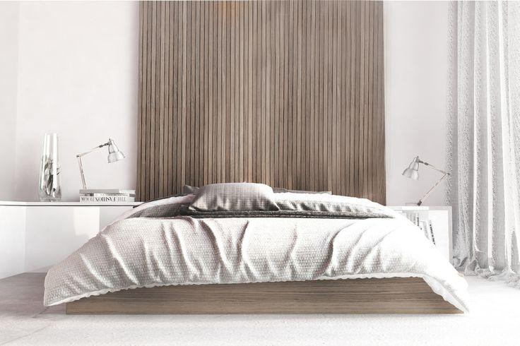 Elegancka sypialnia, luksusowa sypialnia, biel i drewno, drewniany panel nad łóżkiem, łóżko. Zobacz więcej na: https://www.homify.pl/katalogi-inspiracji/18464/biel-i-drewno-doskonala-kombinacja
