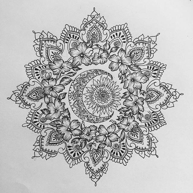Sun and moon mandala for Rosette #mandala...