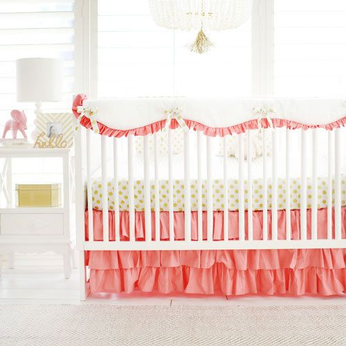 Our gold and coral baby bedding is darling for your little girl's nursery! Paired with gold, coral pops and brightens a nursery! Our Gold Polka Dot in Coral Crib Collection is a must have!