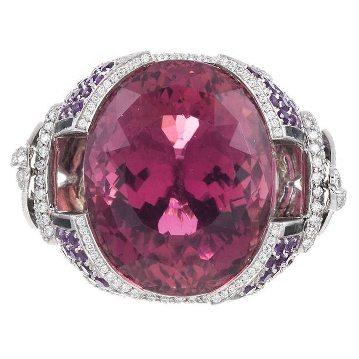 Mauboussin 41.42 Carat Pink Tourmaline Cocktail Ring   From a unique collection of vintage cocktail rings at http://www.1stdibs.com/jewelry/rings/cocktail-rings/