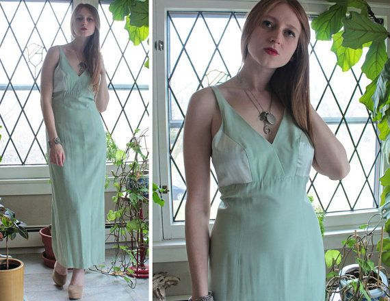 Pastels Green MAXI DRESS Vintage Ladies 4 Petite BRIDESMAID Soft two toned Rayon & Satin Spring Summer Garden Weddings Party Formal Gown S/P by HarlowGirls on Etsy