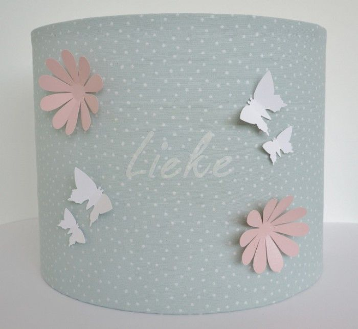 Beautiful lampshade with butterflies, flowers and the name of your child. .