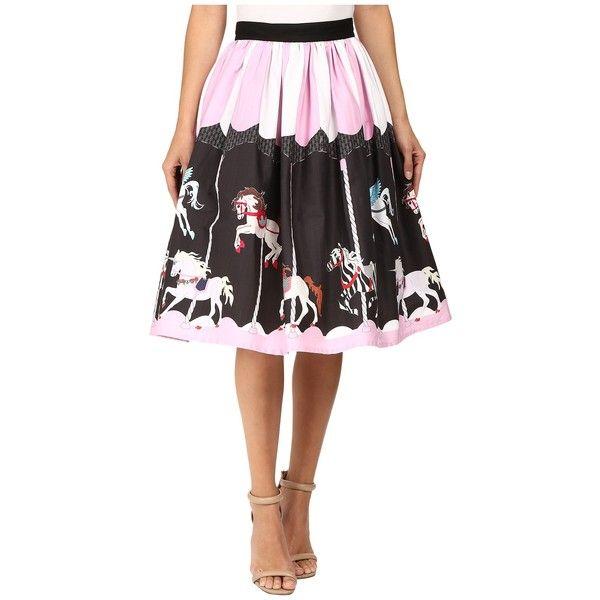 Unique Vintage Scene Full Swing Skirt (Pink/Black Carousel) Women's... ($72) ❤ liked on Polyvore featuring skirts, flippy skirt, zipper skirt, pocket skirt, pink skirt and swing skirts