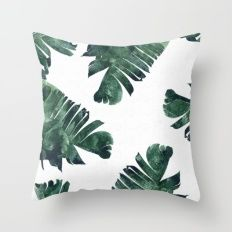 Throw Pillow featuring Banana Leaf Watercolor Pattern #society6 by 83 Oranges™