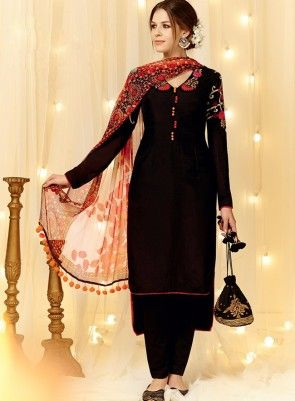 #Black Embroidered #PantStyle #Suit Is on cotton satin fabric with fine embroidery, pure cotton bottom and pure chiffon dupatta.