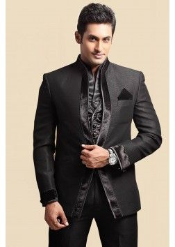 Black Colour Slim Fit Italian Wedding Suit - ST106