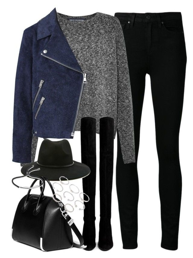 """""""Outfit with knee high boots and a suede jacket"""" by ferned on Polyvore featuring Paige Denim, French Connection, Acne Studios, Stuart Weitzman, Forever 21, Givenchy and Monica Vinader"""