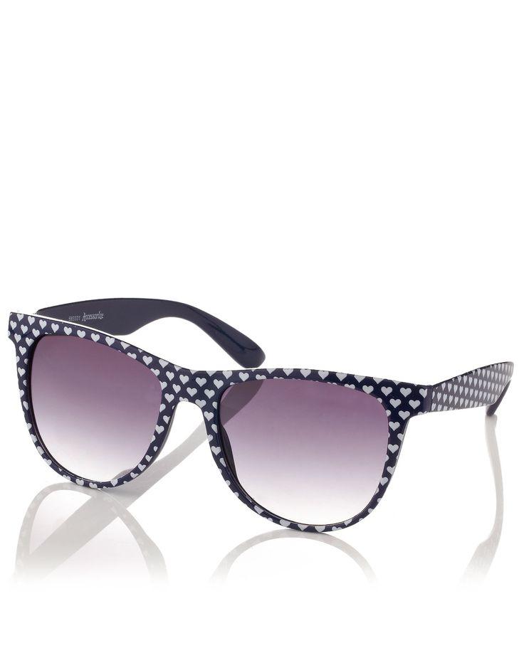 Jamie Flat Top Heart Print Sunglasses